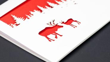 laser cut christmas cards reindeer
