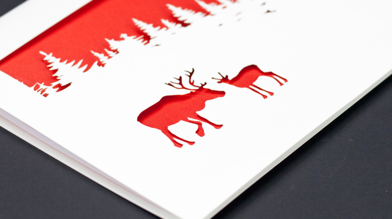 laser cut christmas cards reindeer